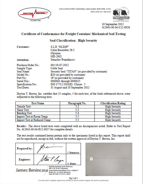 Certificate of Conformance for Freight Container Mechanical Seal Testing